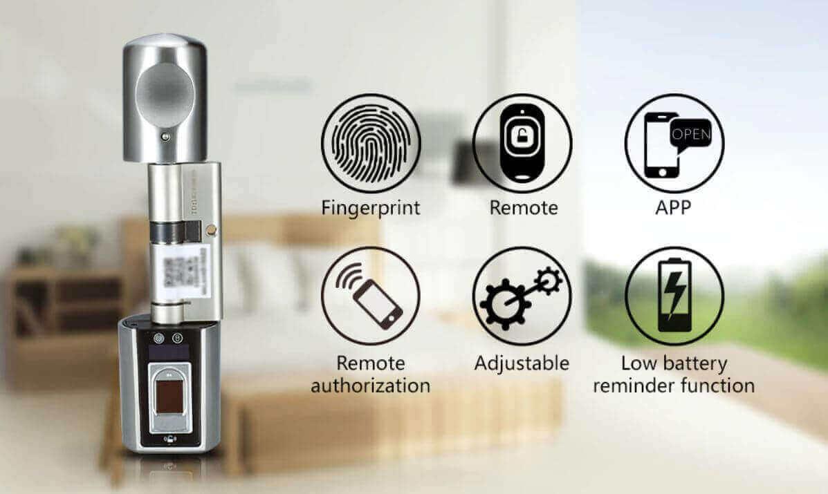 L6SBR هو قفل باب ذكي بطرق فتح متعددة عن طريق البصمة والريموت و تطبيق الجوال